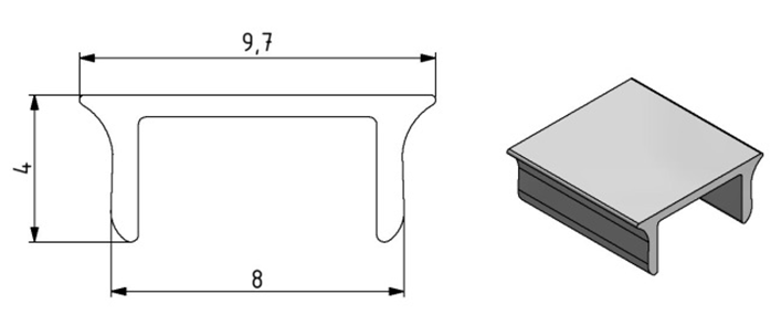 Abdeckprofil Nut 8 Aluminium, Farbe silber Image