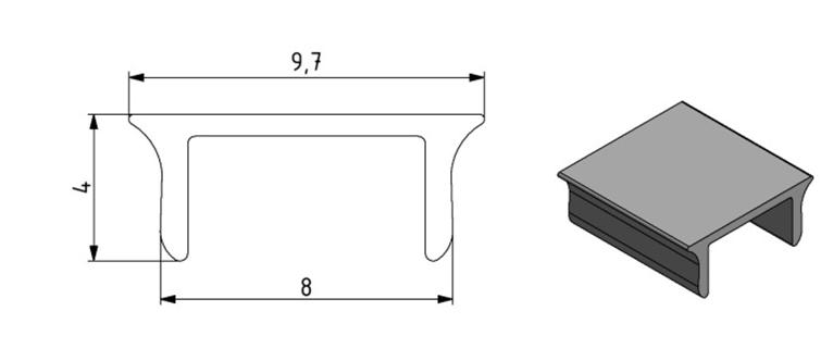 Abdeckprofil Nut 8 Kunststoff, Farbe lichtgrau Image