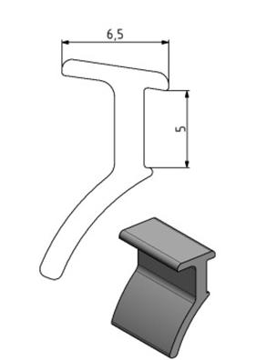 Dichtprofil Nut 10, Farbe schwarz, Scheibenstärke 4 - 6 Image