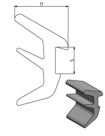 Dichtprofil Nut 10, Farbe schwarz, Scheibenstärke 2 - 4 Image