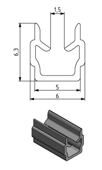 Einfassprofil Nut 5, Farbe schwarz, Scheibenstärke 1 - 3 Image