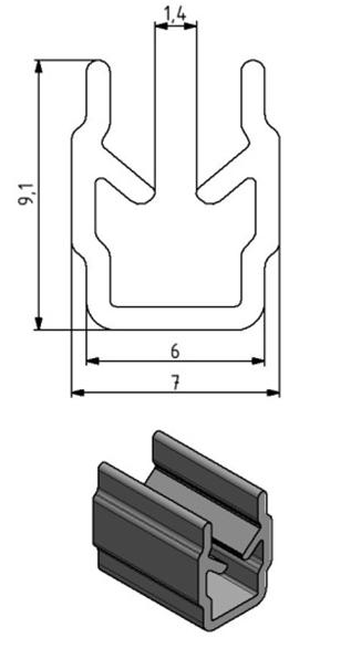 Einfassprofil Nut 6, Farbe schwarz, Scheibenstärke 2 - 4 Image