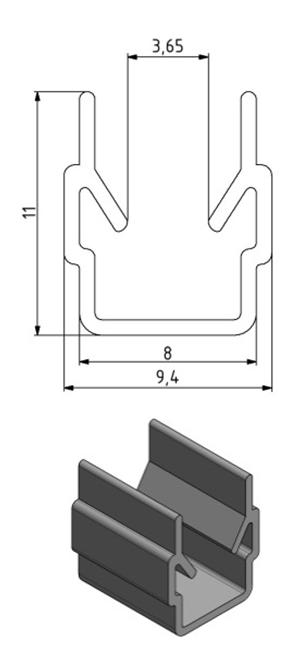 Einfassprofil Nut 8, Farbe transparent, Scheibenstärke 0,8 - 3 Image