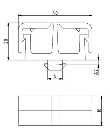Kabelträger mit Trennsteg Nut 8 Image