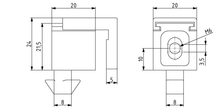 Multi-Uniblock Nut 8 M6 mit unverlierbarer Schraube + O-Ring Image