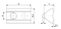 Nutenstein einschwenkbar M5 Nut 6 mit Kugel Image