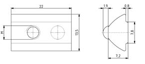 Nutenstein einschwenkbar M5 Nut 8 mit Kugel Image