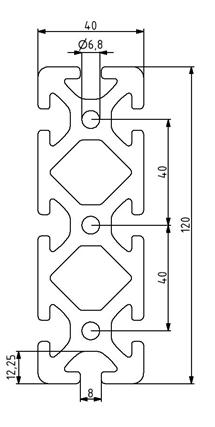 Profil 40x120 Nut 8 Image