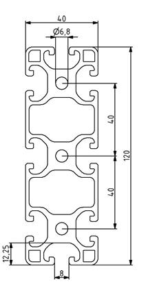 Profil 40x120L Nut 8 Image