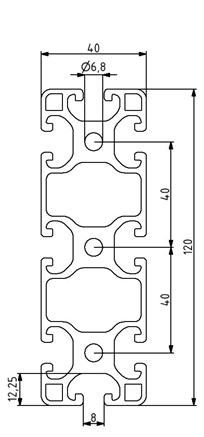 Profil 40x160L Nut 8 Image
