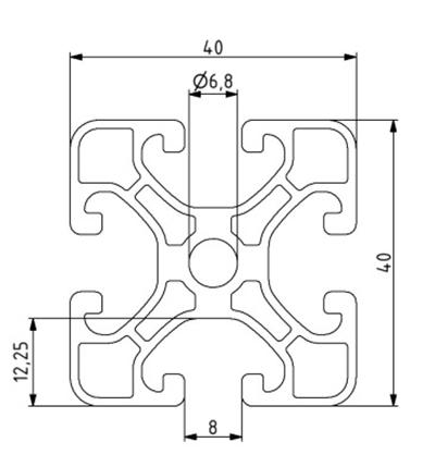 Profil 40x40EL Nut 8 - extraleicht Image