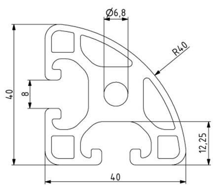 Profil 40x40L R40-90° Nut 8 Image