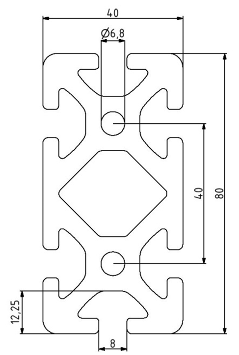 Profil 40x80 Nut 8 Image