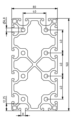 Profil 80x160L Nut 8 Image