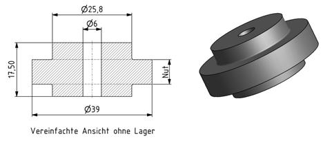 Tragrolle mit Kugellager für lineare Bewegung Image