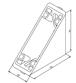 Winkel 40x80 Nut 8 mit Befestigungssatz Image