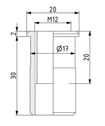 Gewindehülse D20 zur Befestigung von Stellfüßen Image