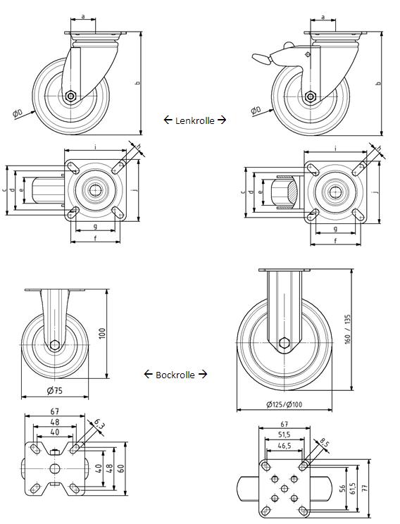 Lenkrolle + Bockrolle D125 mit Anbauflansch Image