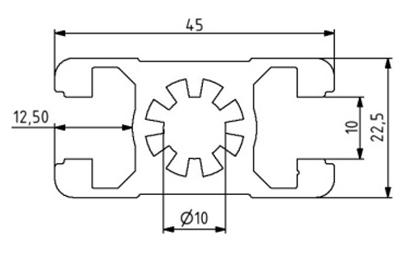 Profil 22,5x45 Nut 10 Image