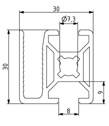 Profil 30x30 WG 40 Nut 8 Image