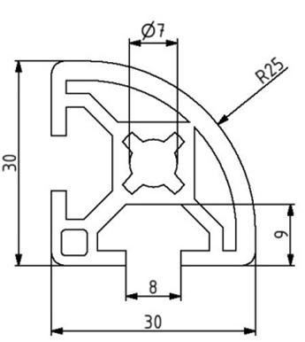 Profil 30x30R Nut 8 Image