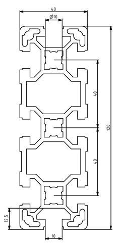 Profil 40x120L Nut 10 Image
