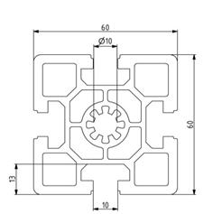 Profil 60x60 Nut 10 Image