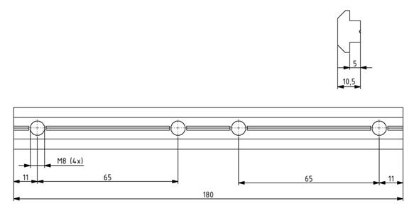 Profilverbinder Nut 10 - Länge 180 mm Image