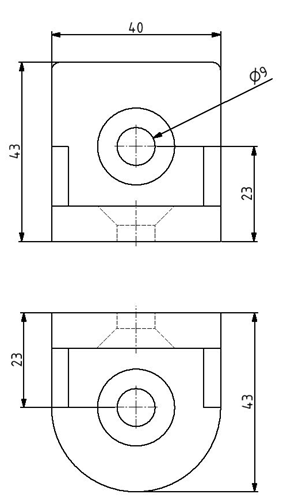 R-Winkel 40x43x43 mm Nut 10/10 inkl. Befestigungssatz Image