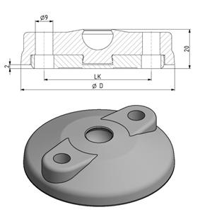 Teller D80 für Gelenkfuß mit Anschraubbohrungen Image