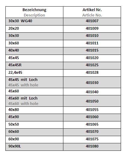 Abdeckkappe Profile - 4010XX Tab