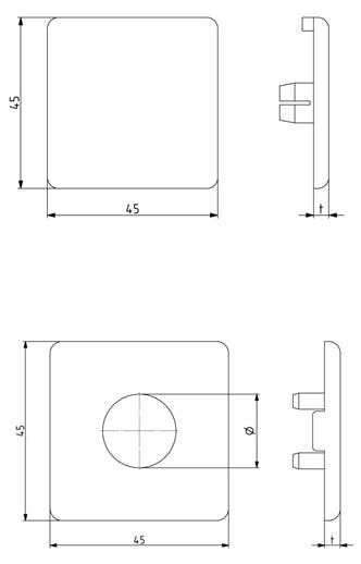 Abdeckkappen für Aluminiumprofile 30x30 bis 90x90 mit und ohne Loch aus Kunststoff PA Image
