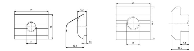 Nutensteine Nut 10 einschwenkbar mit Federblech oder schwer Image