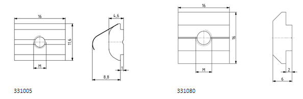 Nutensteine Nut 8 einschwenkbar mit Federblech oder schwer Image
