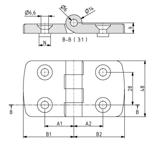 Scharnier 30x30 Nut 8 mit Befestigungssatz Image