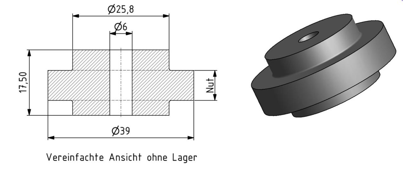 Tragrolle mit Kugellager D39 mm für lineare Bewegung in der Profilnut Image