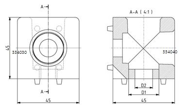 Würfelverbinder 45x45/2 Nut 10 Image
