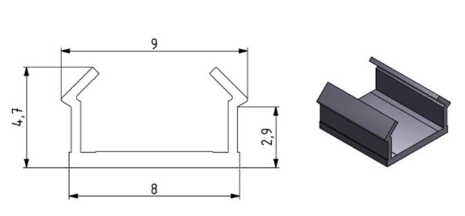 Abdeckprofil Nut 8 Kunststoff, Farbe schwarz Image