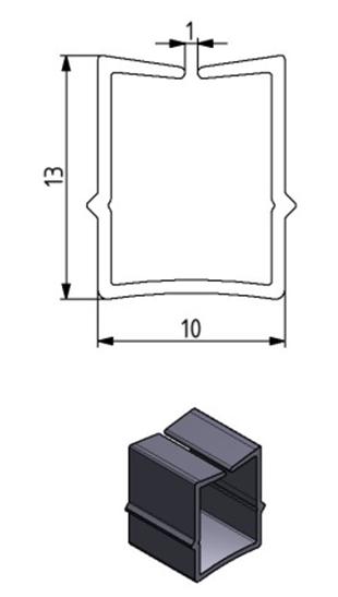 Einfassprofil Nut 10, Farbe schwarz, Scheibenstärke 1 - 6 mm Image