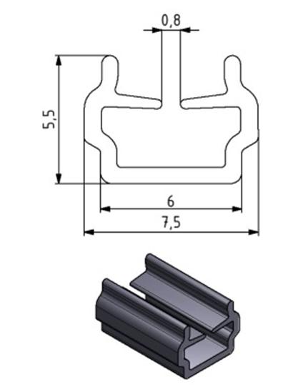 Einfassprofil Nut 6, Farbe schwarz, Scheibenstärke 1 - 4 mm Image