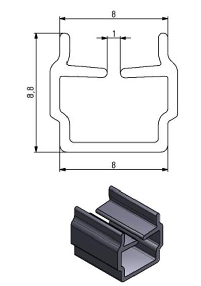 Einfassprofil Nut 8, Farbe schwarz, Scheibenstärke 2 - 6 mm Image