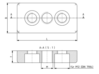 Fußplatten 30x60 M12 - 90x90 M16 Image