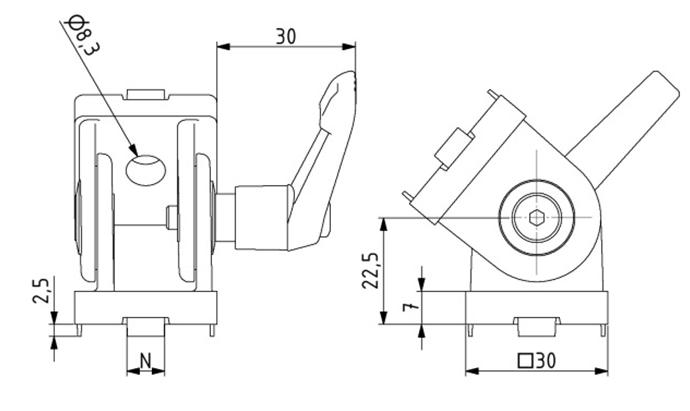 Gelenk 30x30 Nut 8 mit Klemmhebel Image
