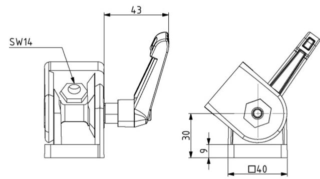 Gelenk 40x40 Nut 10 mit Klemmhebel Image