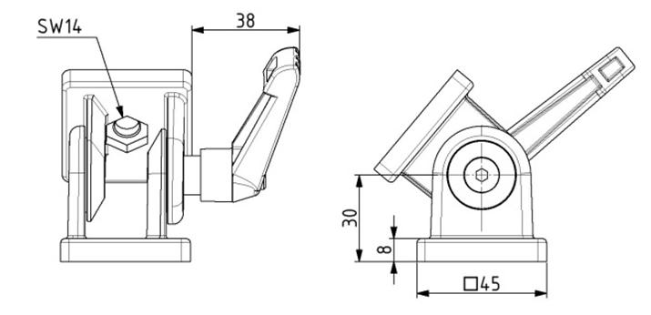 Gelenk 45x45 Nut 10 mit Klemmhebel Image