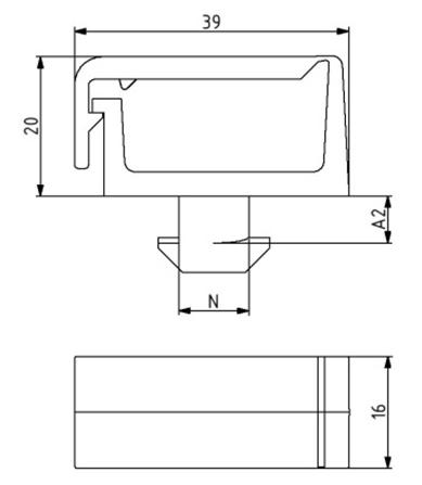 Kabelträger ohne Trennsteg Nut 10 Image