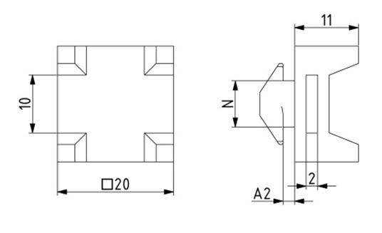 Kreuz-Kabelbinderblock Nut 8 Image