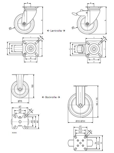 Lenkrollen + Bockrollen D75 mit Anbauflansch Image