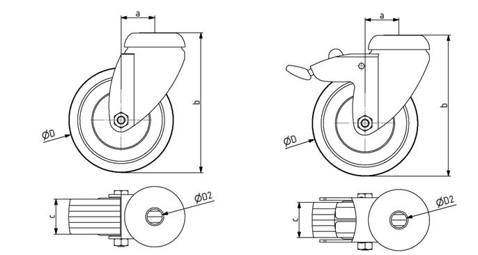 Lenkrollen D75 mit Rückenloch D11 + D12,5 Image