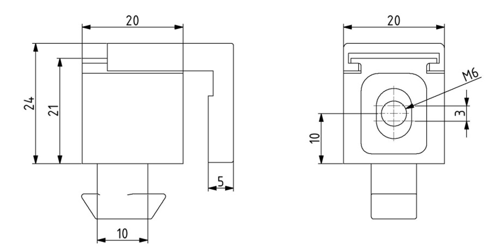 Multi-Uniblock Nut 10 M6 mit unverlierbarer Schraube, inkl. O-Ring Image